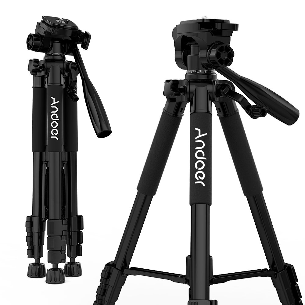 "Andoer Travel Tripod 57"" Lightweight Compact Aluminum Portable Folding Tripod Quick Release Plate, Phone Adapter Holder Carry Case Max Load 7 lb Canon/Nikon/Sony/GoPro DSLR Camera"