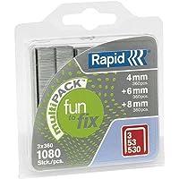 Rapid 40108715 nietjes 53/4-6-8 mm, verzinkt, blisterverpakking, 1080 stuks