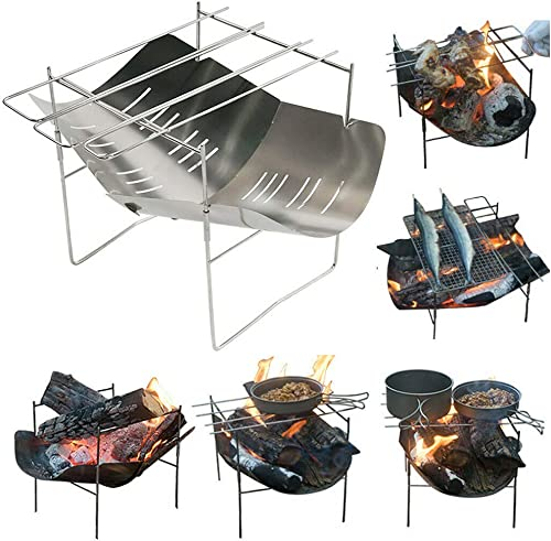 12.5 x12.5 Portable Stainless Steel Charcoal BBQ Grill, Foldable Mini Charcoal Barbecues with Carry Bag Used As Outdoor BBQ Kit Stainless Steel BBQ Grill for Outdoor Camping Barbecue Charcoal Starte