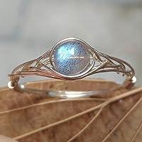 16 1/2 (9-26 1/2 opzione) Pietra naturale Pietra di luna Corda d'argento 925 Sterling in giro pietra preziosa Anello fatto a mano