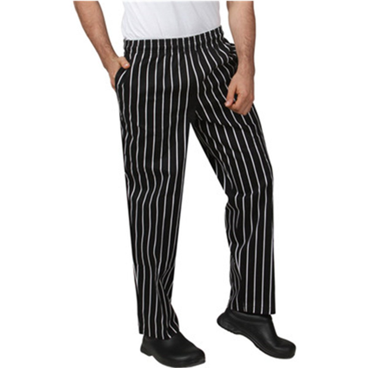 XINFU Chef's Striped Uniform Work Pant Hotel Western Restaurant Kitchen Cotton Trousers Chef Pant