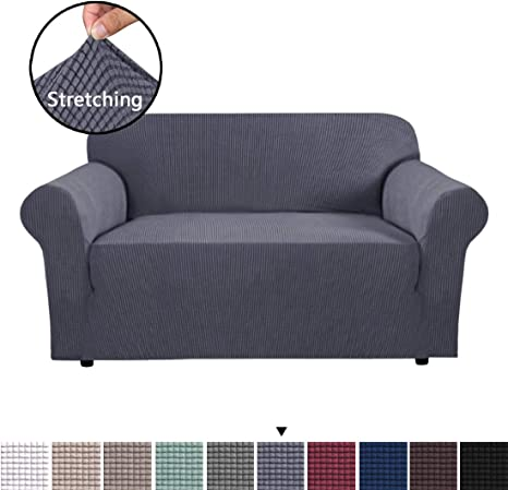 BellaHills Stretch Sofa Covers 2 Seater Love Seat Covers for Living Room Sofa Slipcovers Furniture Covers with Elastic Bottom, Soft Thick Jacquard
