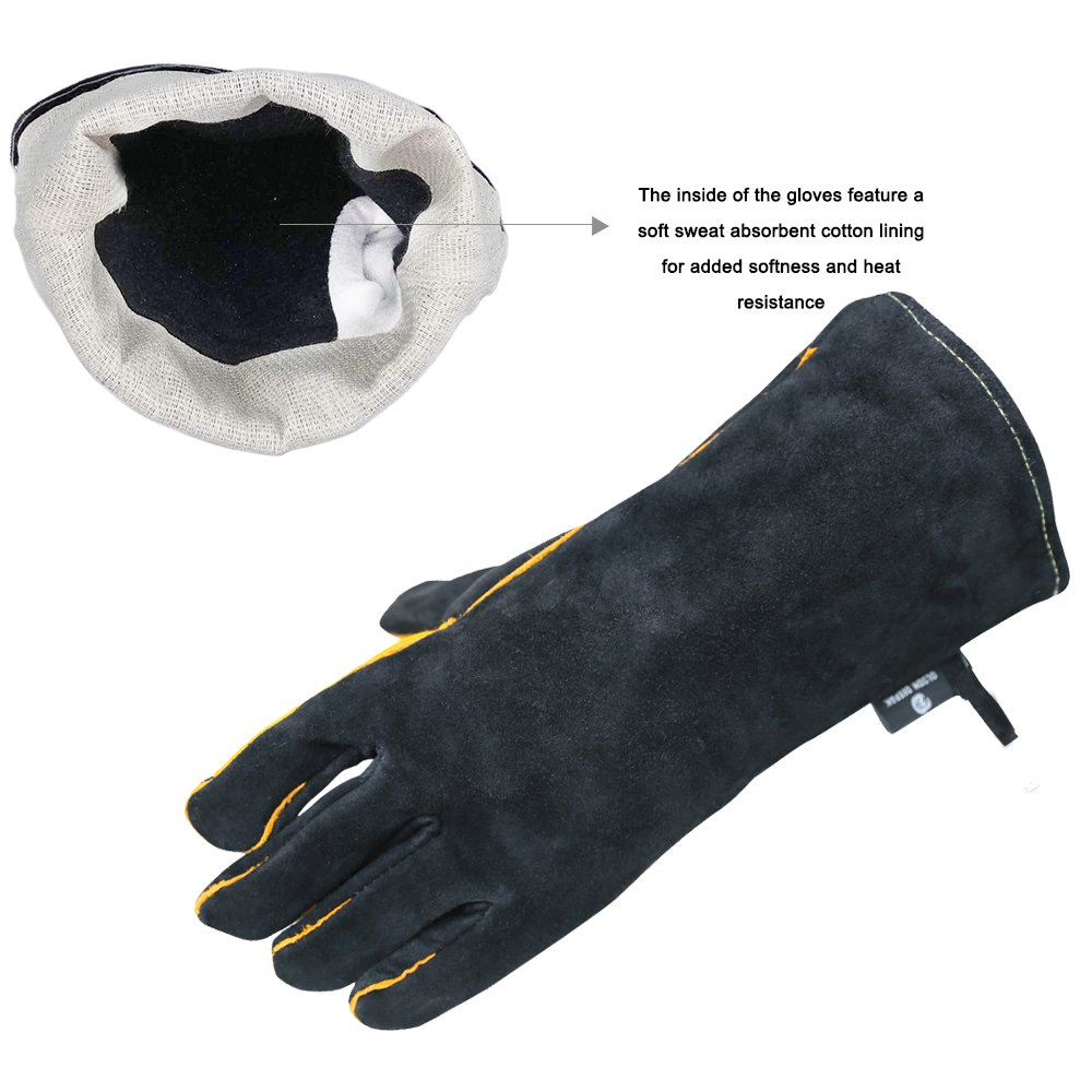 OLSONDEEPAK Welding Gloves with Kevlar Stitching, Genuine Leather Extreme Heat Resistant Glove for Fireplace, Stove,Oven,Grill, BBQ, Mig, Pot Holder, Animal Handling (Large Black(For men)) by OLSON DEEPAK (Image #4)