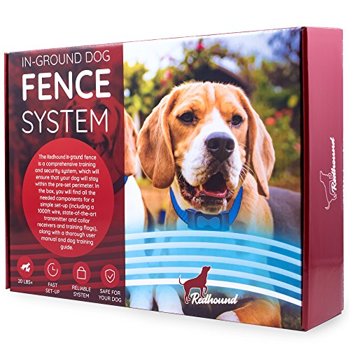 redhound Inground Dog Perimeter Fence to Prevent Pets Escaping - Easy to Set Up and Maintain Wireless Electric Containment System with 2 Shock Collars for Medium to Large Dogs