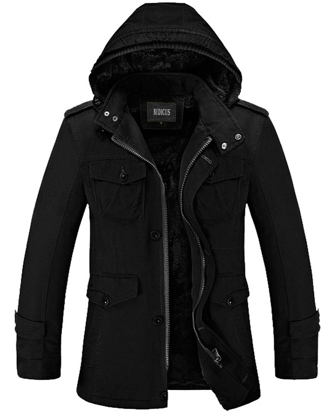 Nidicus Mens Classic Zipper Up Pea Coat with Removable Hood & Fleece Lining Black XXL by Nidicus