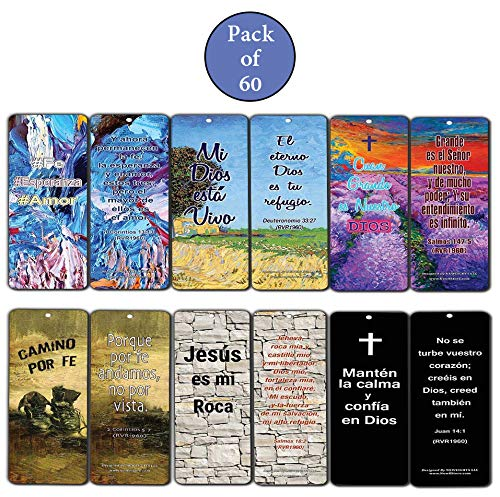 Spanish Favorite Bible Verses Bookmarks (60 Pack) - Bulk Collection & Gift with Inspirational, Motivational, Encouragement Messages by NewEights (Image #2)