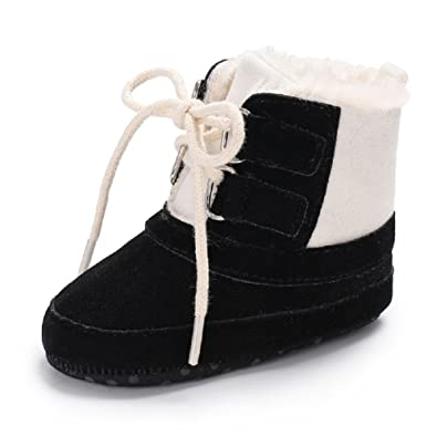 Meeshine Baby Boys Girls Plush Lace Up Snow Boots Newborn Infant Toddler  Winter Warm Non- 4853cdbe4b7a