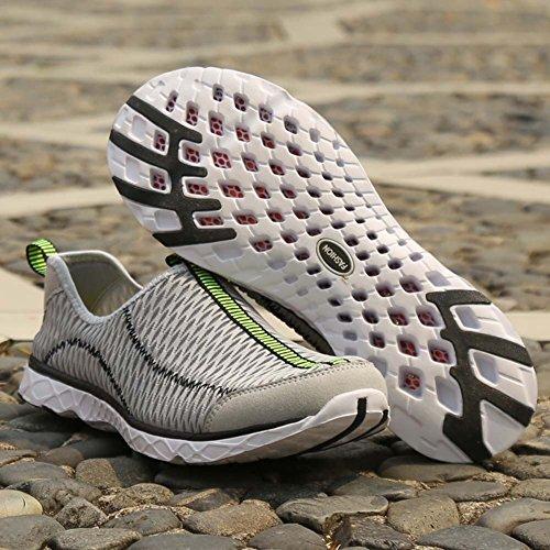 Oberm Damen Herren Wasser Schuhe Schnelltrocknend Slip-On Beach Laufschuhe Leichte Aqua Wasser Turnschuhe Grau