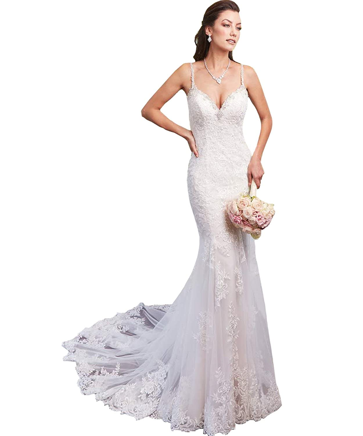 c45cdf486d Yilisclothing Women s Spaghetti Straps Deep V Neck Lace Mermaid Wedding  Dress Sexy Backless Beaded Beach Bridal Gown at Amazon Women s Clothing  store