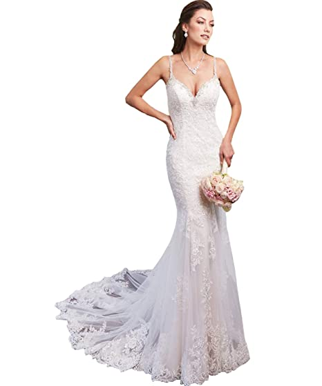 97c61ea742f36 Yilisclothing Women's Spaghetti Straps Deep V Neck Lace Mermaid Wedding  Dress Sexy Backless Beaded Beach Bridal Gown at Amazon Women's Clothing  store: