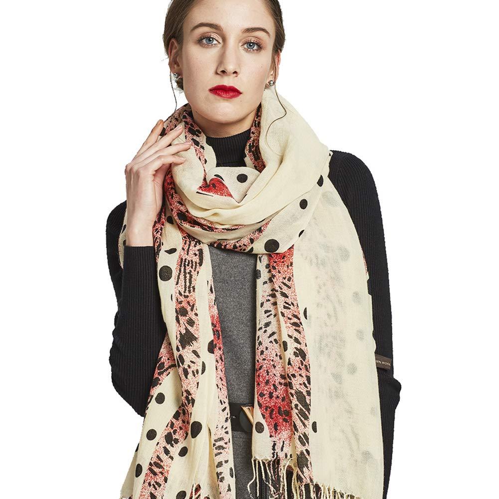 White&red DANA XU 100% Pure Wool Women Winter Large Scarf Pashmina …