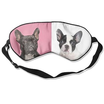 Cómodo antifaz para dormir con diseño de dos bulldogs franceses, máscara de dormir para viajar
