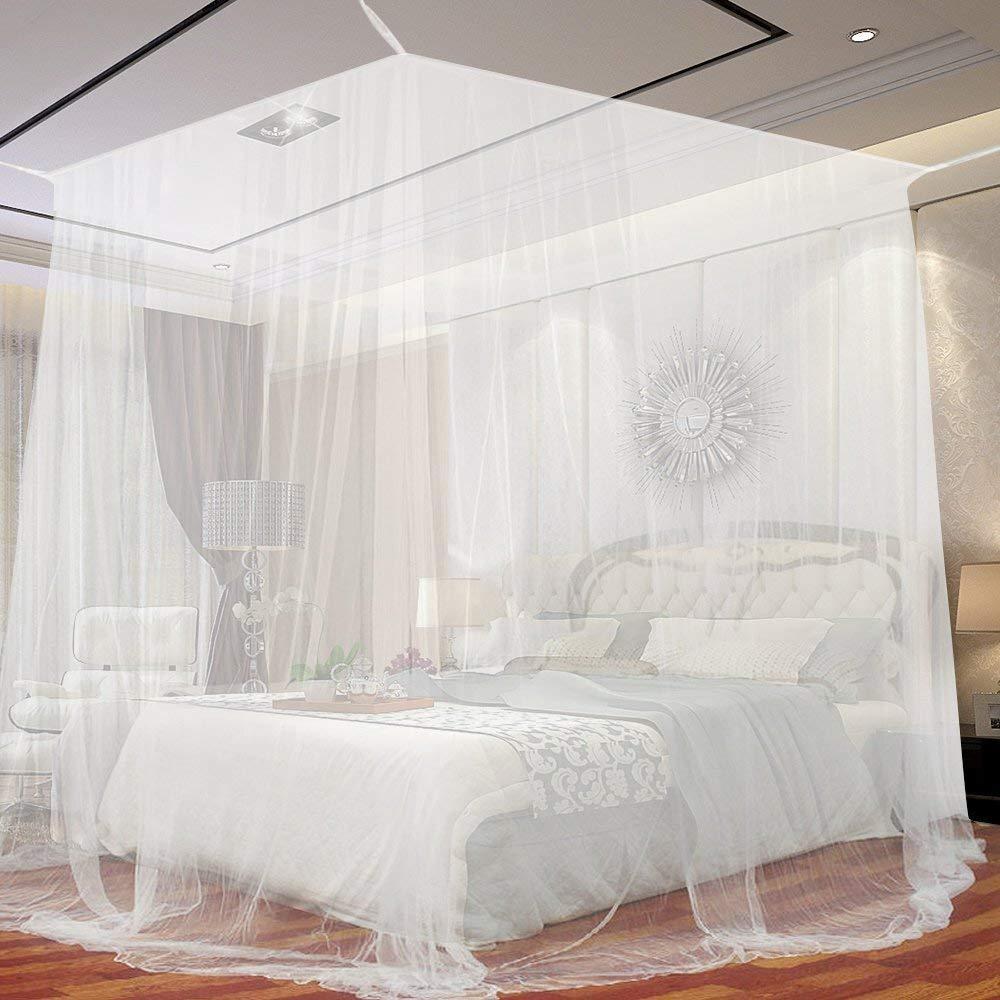 蚊帳 ダブルベッドヘッドシュリンクネットシェイプモスキートネット、シンプルな白い家庭のプッシュプルステンレススチールブラケット昆虫や蚊を防ぐために (サイズ さいず : 2.0m(6.6ft)) B07MD4FVM3  2.0m(6.6ft)