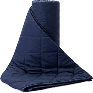 BUZIO Weighted Blanket Adults (20 lbs 180-220 lbs Individual)-Perfectly fit Anxiety, Relief Stress, Sleep Well, 60 x 80 inch, Navy Blue.