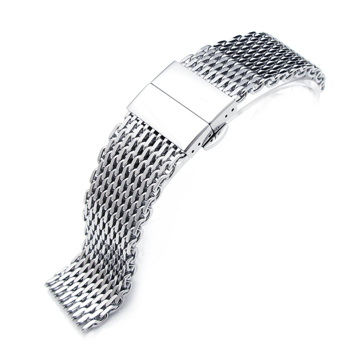 20mm Ploprof 316 Reform Stainless Steel ''SHARK'' Mesh Watch Band Deployant Strap, Polished (AZ)