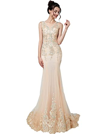 Belle House Women Champagne Tulle Long Evening Dresses for Women Formal Beaded Prom Dresses 2018 Ball