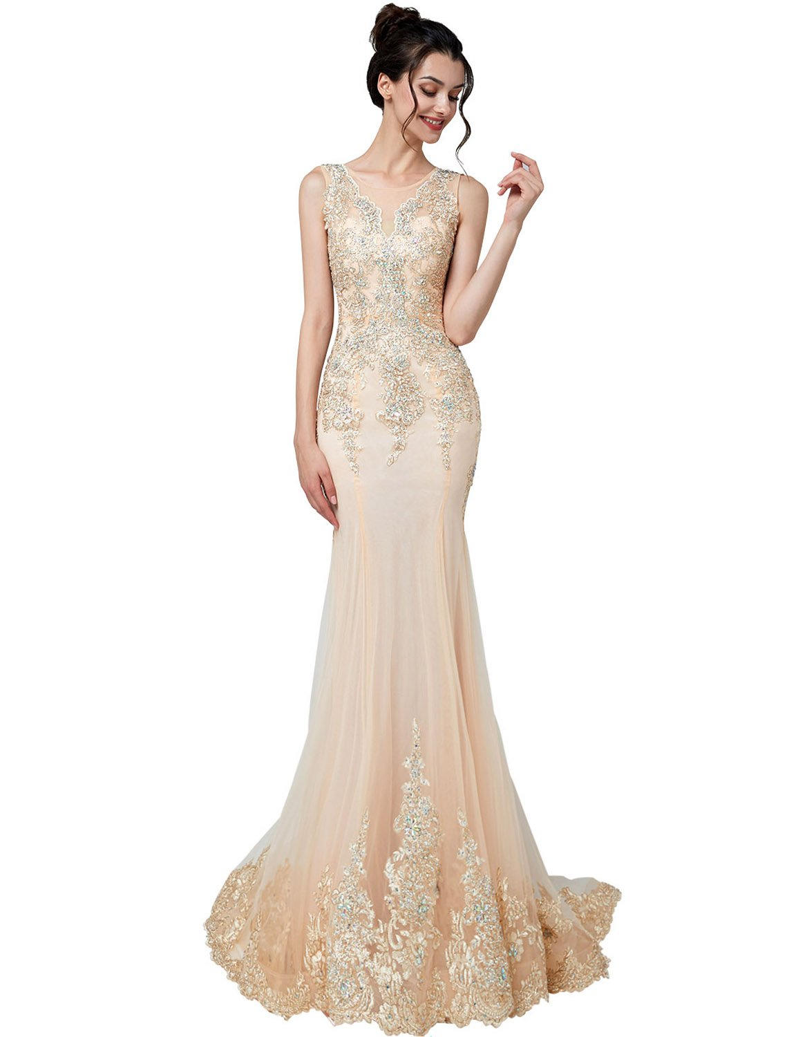 Belle House Evening Dresses Long for Women Formal Elegant Lace Prom Dresses  Plus Size New Mermaid Gowns Champagne