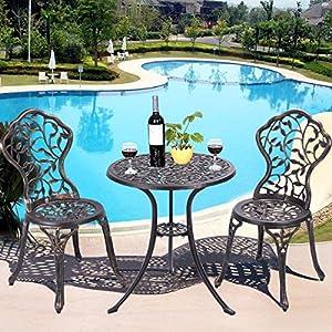 Giantex 3 Piece Bistro Set Cast Leaf Design Antique Outdoor Patio Furniture Weather Resistant Garden Round Table and Chairs (Leaf Design)