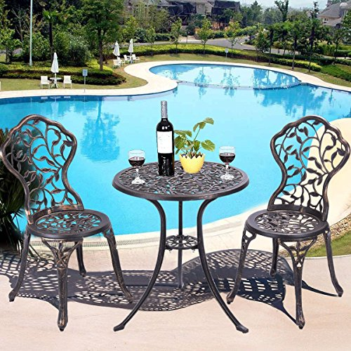 Furniture Umbrella (Giantex 3 Piece Bistro Set Cast Leaf Design Antique Outdoor Patio Furniture Weather Resistant Garden Round Table and Chairs w/ Umbrella Hole (Leaf Design))