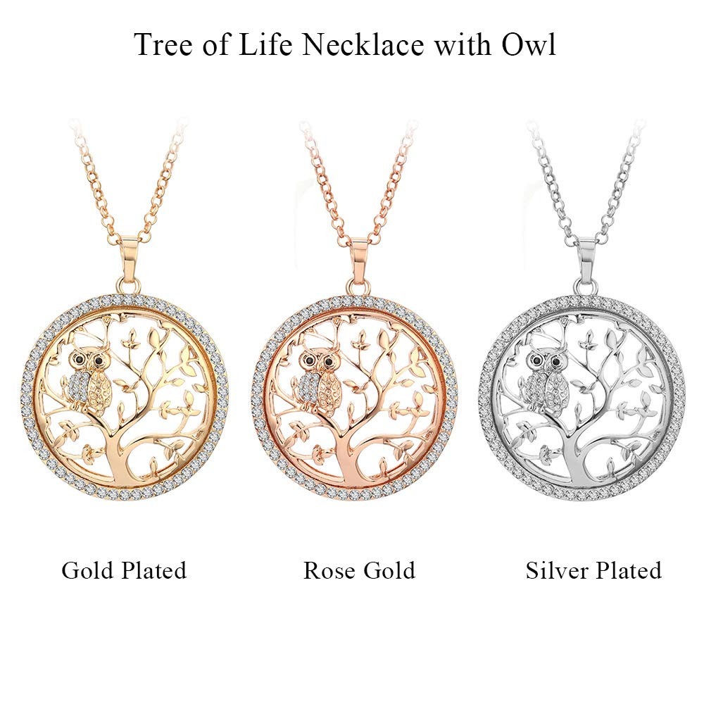 8e4e6ff6db19c YOYOMA Tree of Life Necklace for Women, Owl Pendant Necklace Gold or Silver  Long Chain Necklace CZ Crystal Necklace