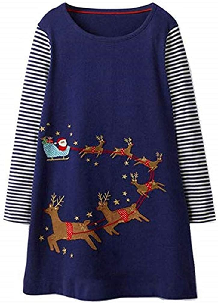 Toddler Little Girl Dress Casual Cotton Unicorn Stripe Long Sleeve Christmas Raindeer Basic Shirt Tunic