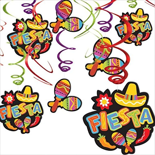 Cinco De Mayo Fiesta Hanging Foil Swirls Value Pack | Party Decoration