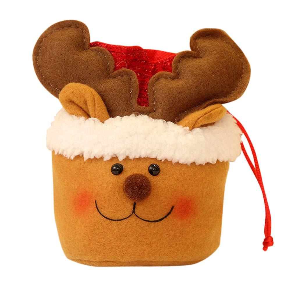 Iusun Christmas Santa Claus Snowman Elk Gift Bag Drawstring Candy Bags Pouch Xmas Cartoon for Shopping Mechandise Party Home Decor Supplies Gift (B)