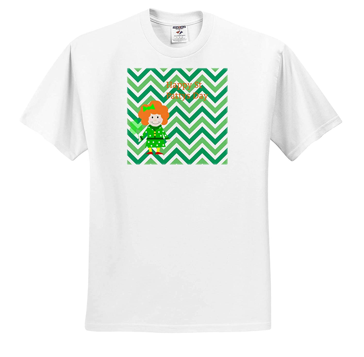 3dRose Lens Art by Florene T-Shirts Image of Happy St Pattys Day Says Wee Girl On Green Chevron St Pattys Day