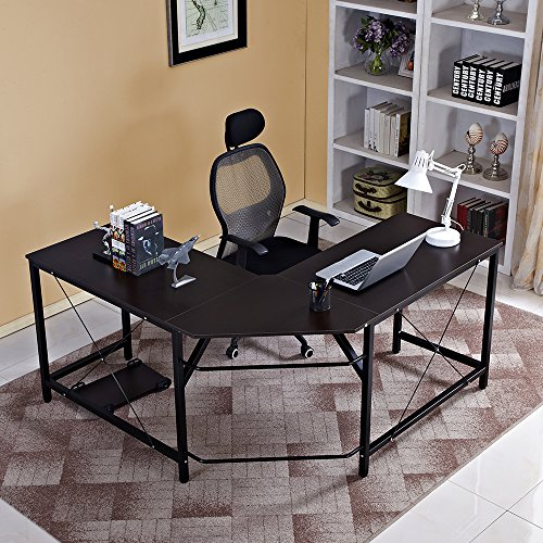 Mixcept L-Shaped Desk Computer Desk Large Corner Study Table Home Office Desk Workstation Desk,ZJ02-BK-MI Black