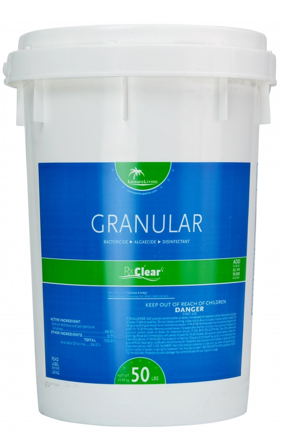 Rx Clear 99% Sodium Dichlor Stabilized Granular Chlorine for Use As Bactericide, Algaecide, and Disinfectant in Swimming Pools and Spas (50-Pounds) by Rx Clear