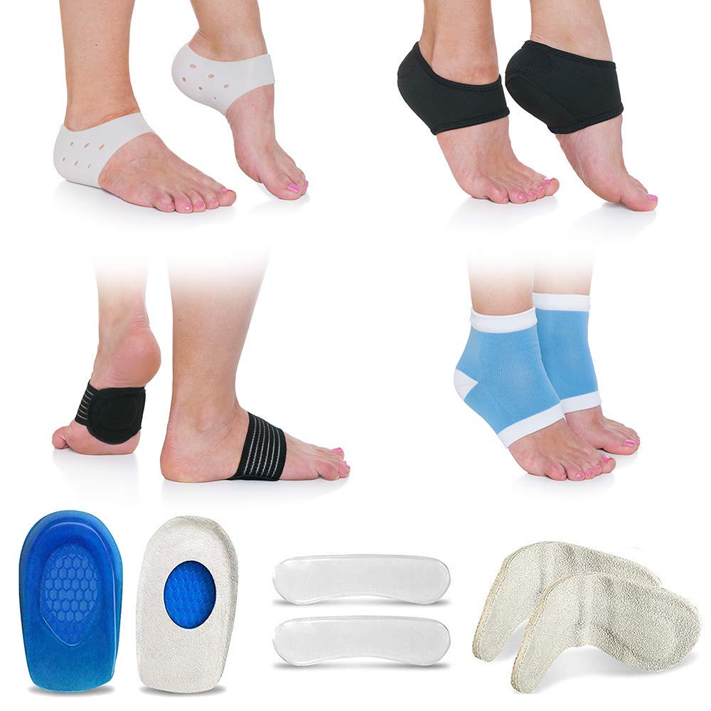 793a533cc5 Amazon.com: Plantar Fasciitis Foot Pain Relief 14-Piece Kit – Premium,  Medical-Grade Heel Spur & Plantar Fasciitis Therapy Wraps, Compression Socks,  ...