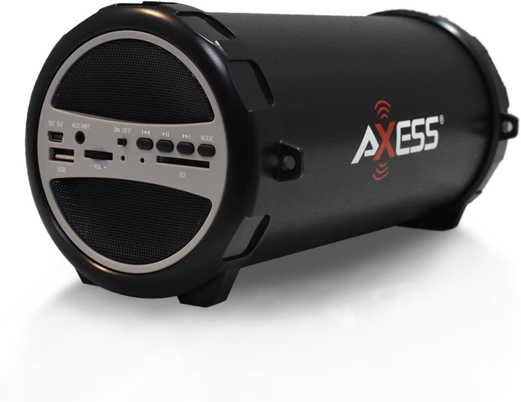 "AXESS SPBT1031 Portable Bluetooth Indoor/Outdoor 2.1 Hi-Fi Cylinder Loud Speaker with Built-In 3"" Sub and SD Card, USB, AUX Inputs in Gray"