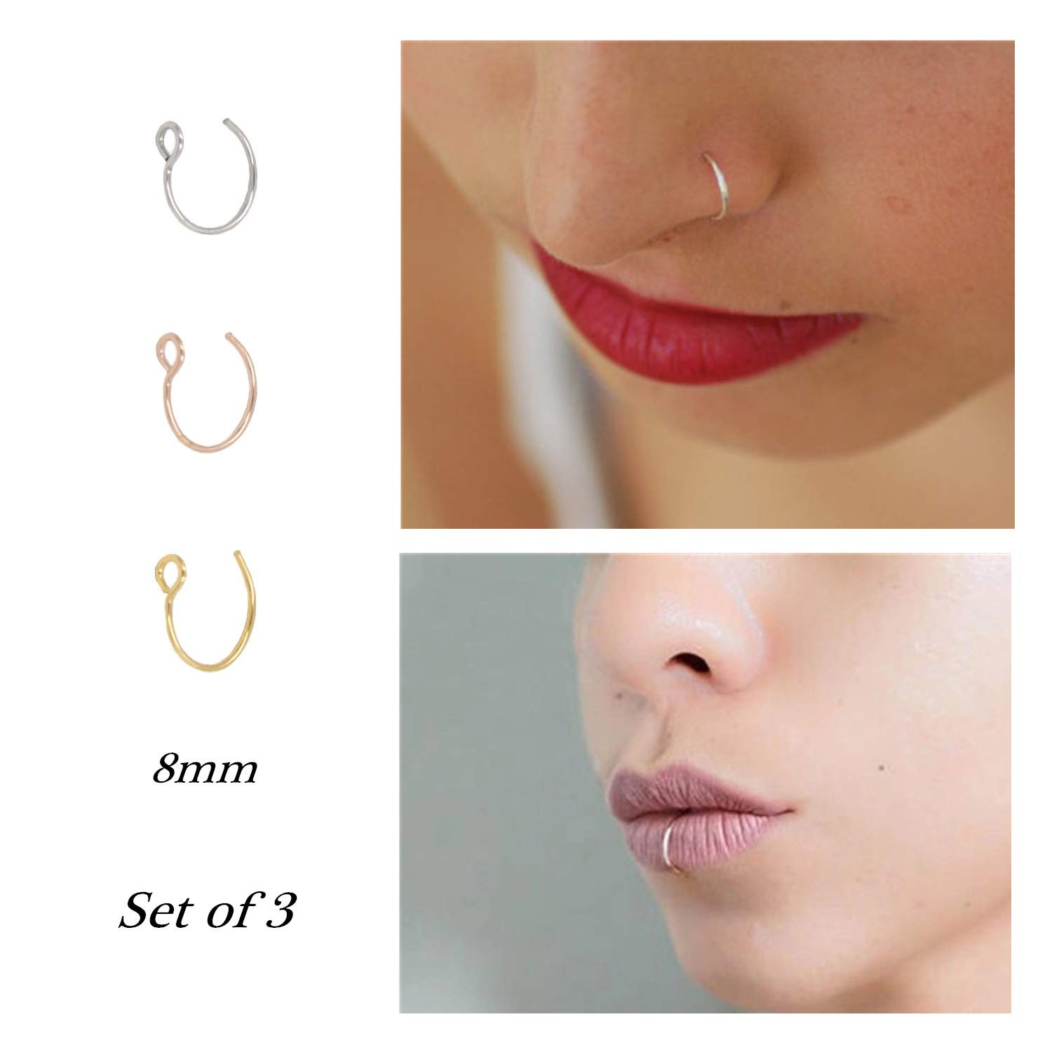 Fake Nose Ring Hoop Nose Rings Set Nose Piercing Lip Nose Rings Jewelry for Women Men Girl Gold,Rose Gold,Silver Pamido B07FK9LSPT_US
