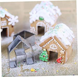 Zonfer 3pcs Mini Stainless Steel Cookie Cutter Non Stick Gingerbread House Biscuit Cake Cutter Set for Home DIY Pastry Baking Tool