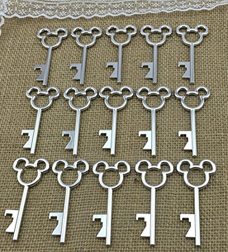 100 Antique Skeleton Key Bottle Opener Silver Wedding Favor Bridal Shower Gift Steampunk Decoration Birthday Party Alice in Wonderland 3
