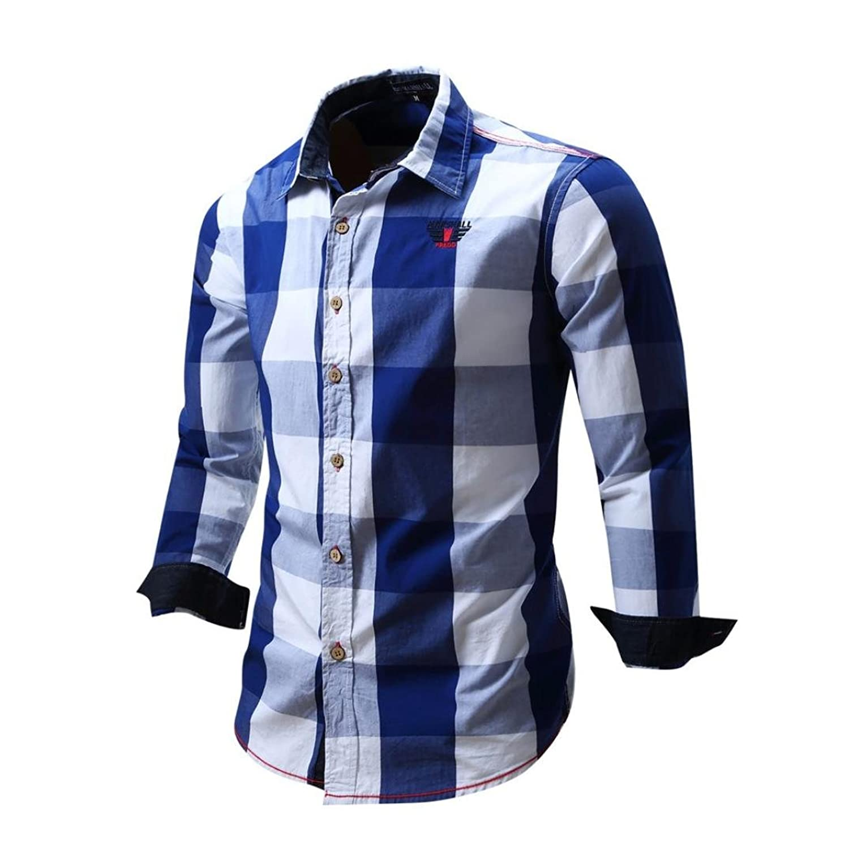 SHOBDW La camisa de los hombres de manga larga no plancha casual blusa de  algodón Slim 40670b9be4391