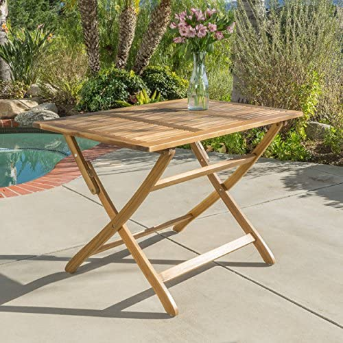 St. Nevis Acacia Wood Outdoor Foldable Dining Table Perfect For Patio with Natural Finish