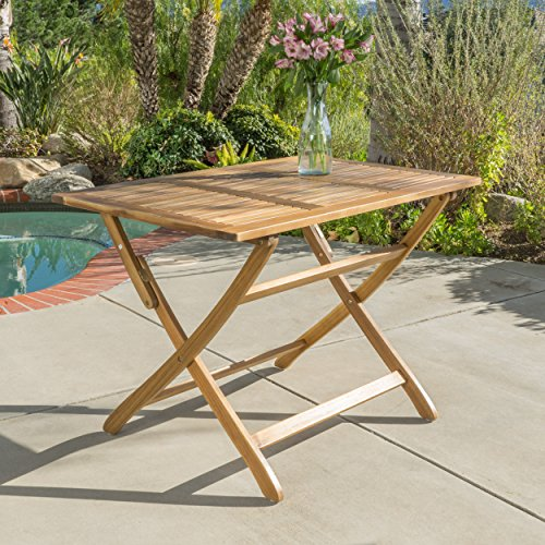 St. Nevis | Acacia Wood Outdoor Foldable Dining Table | Perfect For Patio | with Natural Finish (Outdoor Folding Table Wood)