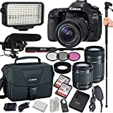 Canon EOS 80D 24.2 MP Digital SLR Camera with 18-55mm and 55-250mm Lenses, Filters, Lens Hood, Monopod, 128GB Memory, Led Video Light, Microphone, Canon Case, Extra Battery & Charger