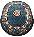 Persian Medallion Oval Woven 5x8 Area Rug LT Blue Actual Size 5'3 x 7'2