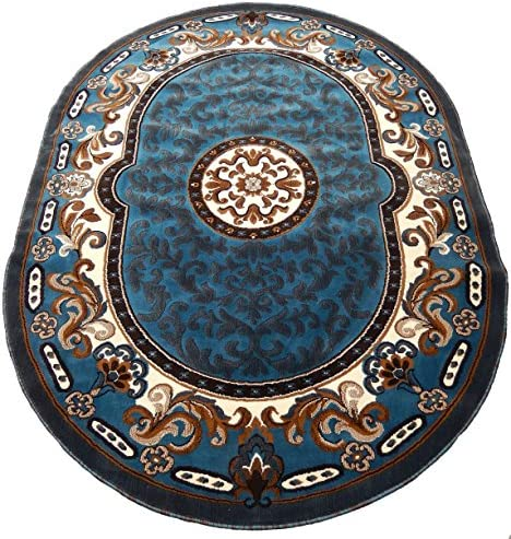 Persian Medallion Oval Woven 5×8 Area Rug LT Blue Actual Size 5 3 x 7 2