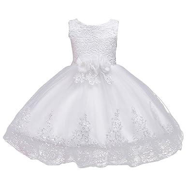 70e8362ceb1f2 Fille Robe Dentelle Spliced Fleur Décor sans Manches Paillettes Robe  Princesse pour Cérémonie Mariage Demoiselle d