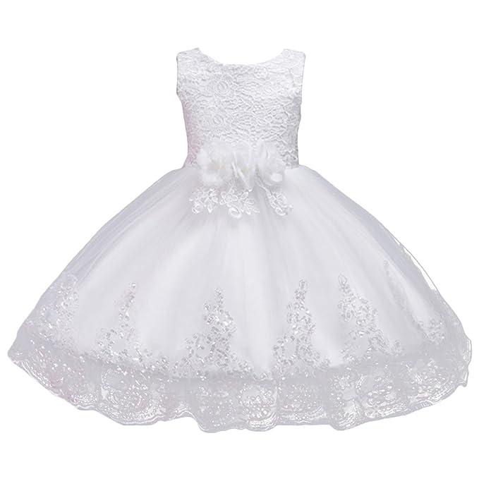 OBEEII Vestidos de Fiesta Boda Ceremonia Vestido Midi de Princesa Encaje de Flores Sin Mangas para