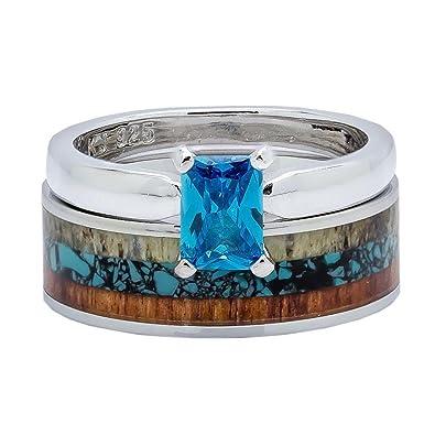 4c7a54f20d 2 pc Wedding Rings Set Deer Antler Turquoise Koa Wood Stainless Steel  Sterling Silver Engagement Rings