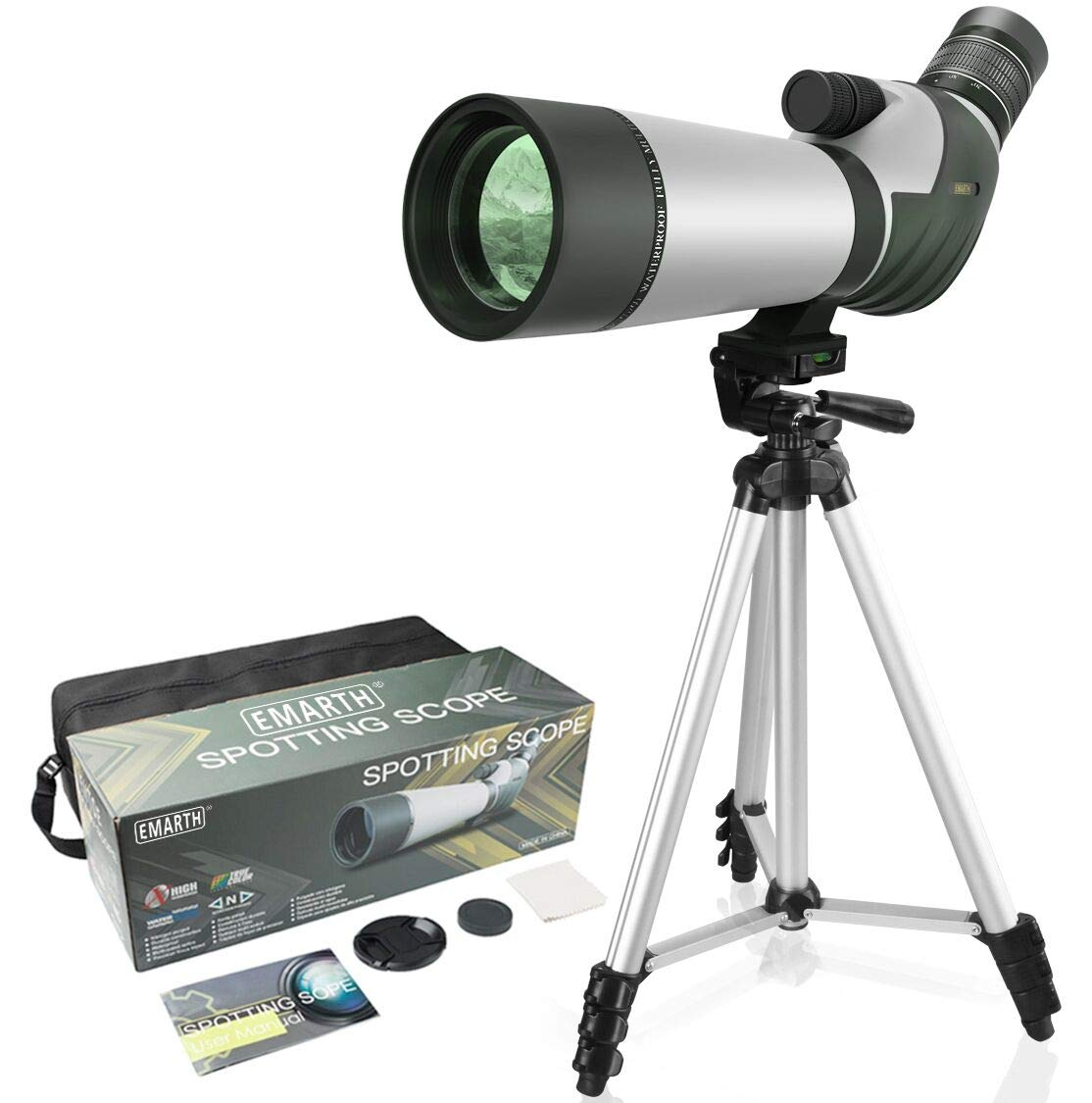 FEEMIC Upgrade 20-60x60 Waterproof Spotting Scope with Tripod, BAK4-45 Degree Angled Big Eyepiece(24mm), Optics Zoom 47-23.5M/1000M Spotting Scope for Target Shooting Bird Watching Hunting Wildlife by FEEMIC
