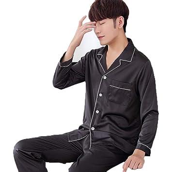 Los Hombres De Seda Clásica Pijama Sudadera Estilo Otoño De Manga Larga  Conjunto De Color Sólido df9e610cc9f2