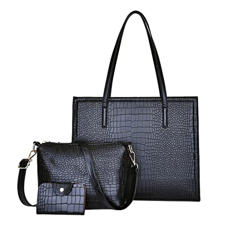 ef117603c48b Amazon.com: Bag 3pcs Set Women's Briefcase Handbags Purses Ladies ...