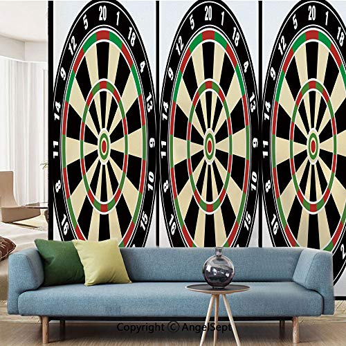 (AngelSept Decorative Privacy Window Film,Dart Board Numbers Sports Accuracy Precision Target Leisure Time Graphic,W15.7xL63in,No Glue Static Cling Glass Sticker,Vermilion Green Black)