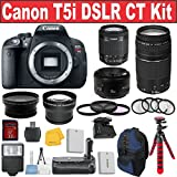 Canon EOS Rebel T5i Digital SLR Camera + Canon 18-55 STM Lens + Canon 50 1.8 Portrait Lens + Canon 75-300 III Zoom Lens - International Version