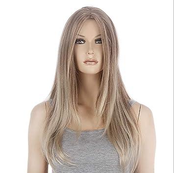 Lady Wig Peluca Larga Recta del Pelo Sintético Marrón con Las Pelucas Delanteras del Cordón De